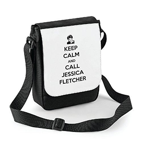 bubbleshirt Mini Borsa a Tracolla Keep Calm And Call Jessica Fletcher - La Signora in Giallo - Jessica Fletcher - Idea Regalo -Tracolla Regolabile - Misura 18x22 cm