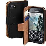 moex Handyhülle für BlackBerry Q10 - Hülle mit Kartenfach, Geldfach & Ständer, Klapphülle, PU Leder Book Hülle & Schutzfolie - Schwarz