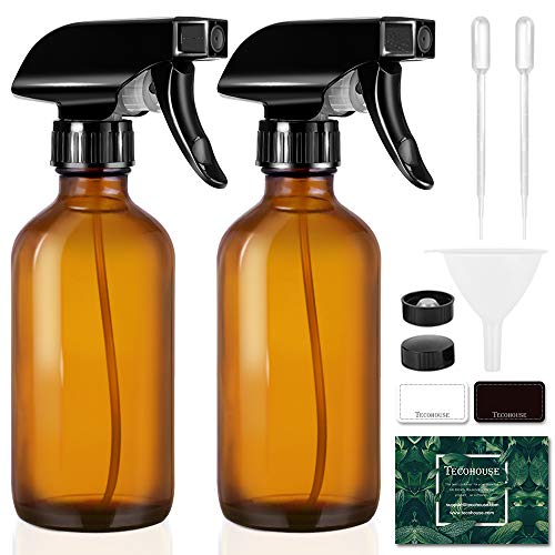Tecohouse Glass Spray Bottle 8oz for Cleaning Product and Esssential Oil, Amber Empty Refillable Sprayer Container with Labels, Funnel, Lids, Graduated Pipettes - Handheld Size