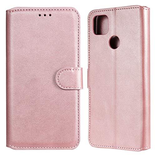 Caja del teléfono móvil para Xiaomi Redmi 9c Classic Becerta Textura PU + TPU Funda de Cuero Horizontal Flip, con Soporte y Ranuras para Tarjeta y Billetera (Color : Rose Gold)