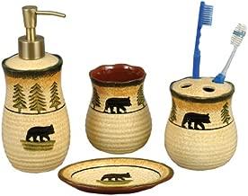 Black Bear Forest Pottery Bath Set - 4 pcs - Wilderness Bath Accessories
