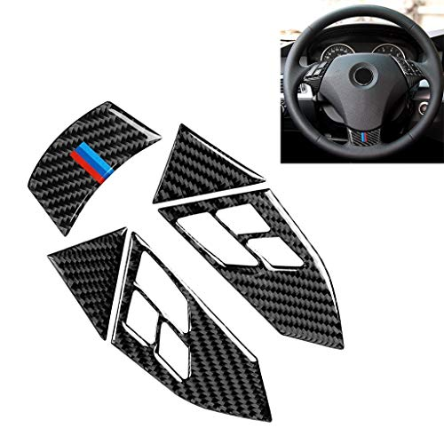 YCZLZ Carbon Faser Abziehbild Aufkleber für Auto, Automotive Carbon-Faser-Abziehbild-Aufkleber 5 in 1 Auto-Carbon-Faser-Tricolor-Lenkrad-Knopf dekorativer Aufkleber for BMW 5er E60 2004-2010, Links un