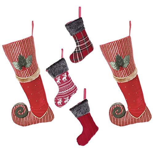 Lusso calza di Natale Family set–2Berry rosso, verde e oro a strisce in velluto a righe scarpa da Missing elfo calze con agrifoglio, pelliccia e decorazione di perline, H47x W22cm & mano Set di 3mini calze in maglia a trecce, tartan & renna design, H22cm–pieno di carattere e perfetto per le feste.