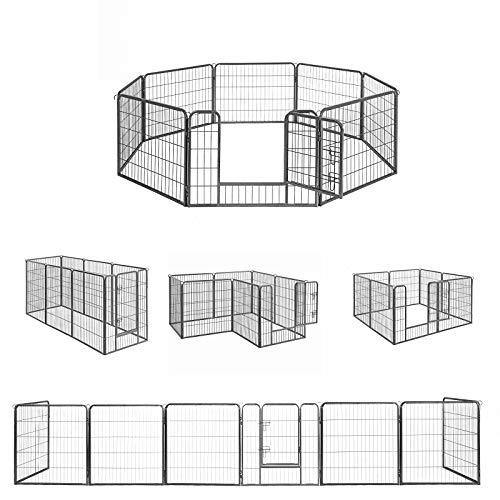 FEANDREA ペットサークル 中大型犬 小動物用 犬猫 大型ペットフェンス カタチ変更可 扉付き 室内外兼用 パネル8枚 折り畳み式 組立簡単 犬ケージ PPK86G 高さ60cm