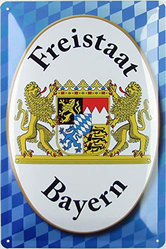 Blechschild 20x30cm gewölbt Freistaat Bayern Wappen blau weiß Geschenk Schild