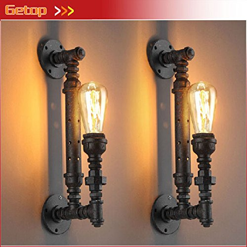 5151BuyWorld wandlamp, industriële, rustiek, steampunk, pijp, metaal, vintage lampen, balkon, met E27-fitting