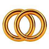 Newdoar Rappel Ring 25kN Gold Large O-Ring Cuerda Conector para Escalada en Roca Arborist Rescue Hamaca y Slackline (Paquete de 2