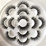 PLEELL False Eyelashes Fluffy Faux Mink Long Dramatic Wispy Handmade Volume Natural Look Soft Lightweight Reusable Makeup Lashes