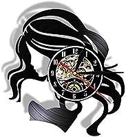 ビニールレコードウォールクロックビューティーレディロングヘアレトロビニールレコードウォールクロックビューティーサロンビジネスロゴ女性ヘアケア理髪店ウォールクロック