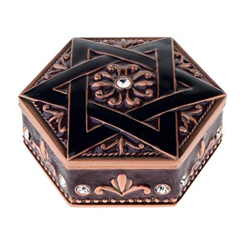 MUY Caja de joyería de Princesa Caja de joyería de Alta Gama Caja de tocador de Estrella Hexagonal de Metal Caja de Recuerdo de Pascua para Mujeres