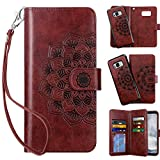 Vofolen 2-in-1 Case for Galaxy S8 Case Wallet Credit Card Holder ID Slot Detachable Strap Hybrid Protective Slim Hard Shell Magnetic PU Leather Folio Pocket Flip Cover Case for Galaxy S8 Mandala Red