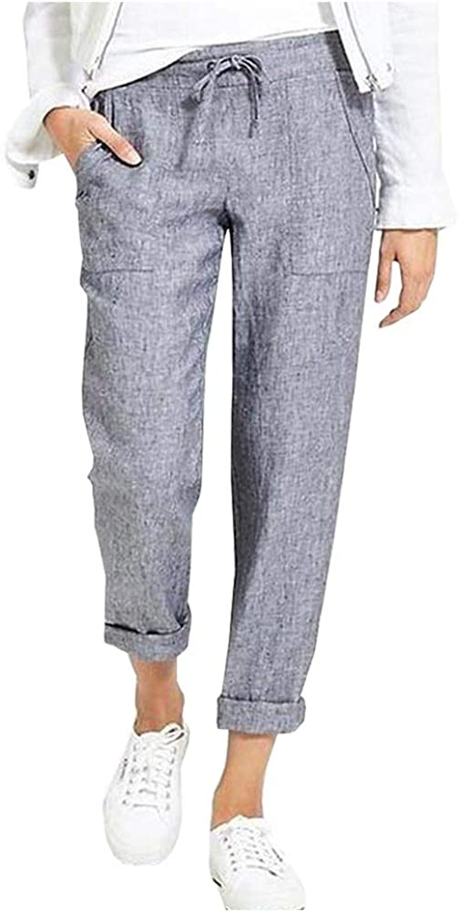 Ladyful Women's Casual High Waisted Cotton Linen Pant Baggy Beach Trouser with Drawstring
