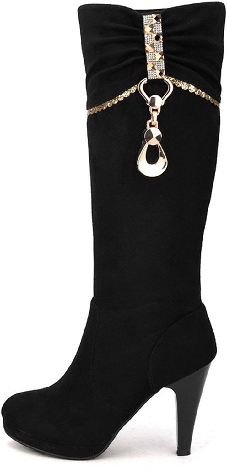 WeenFashion Womens Closed Round Toe Frosted PU Solid Boots with Metalornament, Black, 7.5 B(M) US