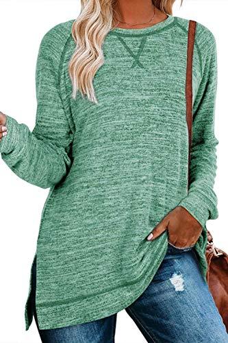 SMENG Pullover Damen Langarmshirt Sexy Oberteile Rundhals Pullover T Shirt Streifen Color Block Baseball Shirt Hemden Top Grün L