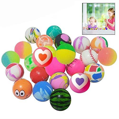 LHKJ Bolas de alto rebote Surtidas Bolas rebotadoras Bouncy Ball Múltiples diseños y Colores para la fiesta de cumpleaños del niño, Actividades de clase
