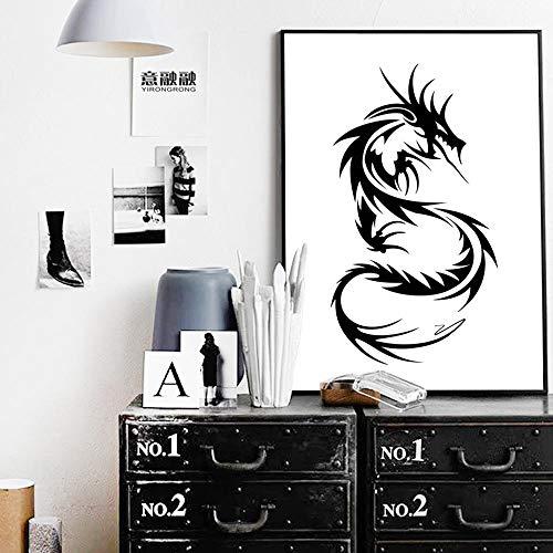 WADPJ minimalistische kunst canvasdruk schilderij poster van Chinese draak wit en zwart beeld woonkamer wooncultuur 50 x 70 cm x 1 st. Geen lijst