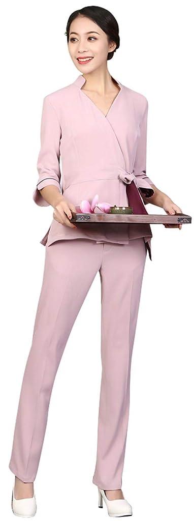 すき加入足事務服 女性 エステユニフォーム レディース 上下セット スラックス ボトムス 受付 サロン ヒーリング ピンク/ネイビー/ベージュ S/M/L/XL/2XL 小さいサイズ/大きいサイズ