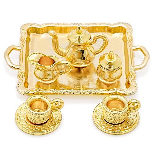 Odoria 1/12 Miniatur Geschirr 8 Stück Golden Kaffeeservice Teetassen Kessel und Servierplatte Puppenhaus Küche Zubehör