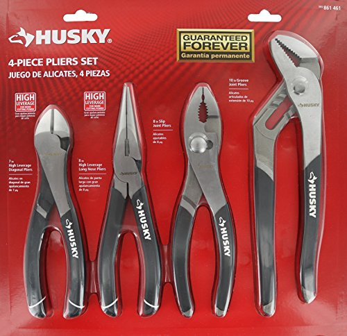 Husky 861461 4 Piece High Leverage Multi-Use Pliers Set with Diagonal, Long Nose, Slip Joint, and Groove Joint Pliers