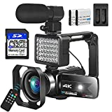 Video Camera Camcorder, 4K Camcorder with Microphone for Photography Camcorder UHD 56MP Vlogging Camera for YouTube 16X Zoom 3.0' Touch Screen IR Night Vision Wi-Fi with Beauty Fill