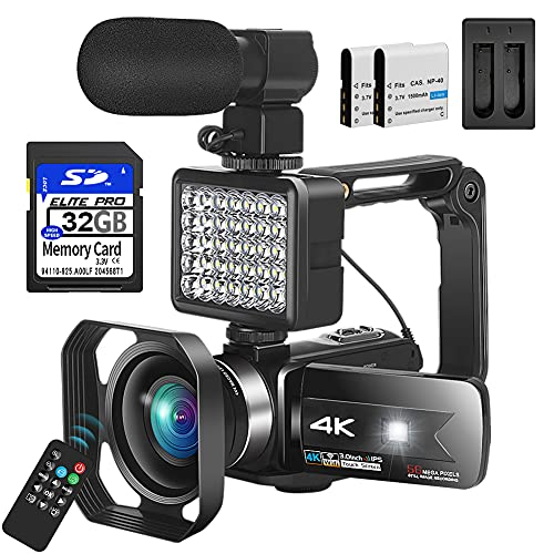 Video Camera Camcorder, 4K Camcorder with Microphone for Photography Camcorder UHD 56MP Vlogging...