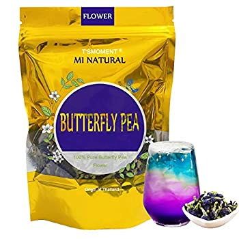 Butterfly Pea Flower Tea 50g 1.76 Oz  Organic Butterfly Pea Tea Vegan Rich in Antioxidants Pure and Premium Clitoria ternatea Dried Butterfly Flowers Tea for Drinks Food Coloring