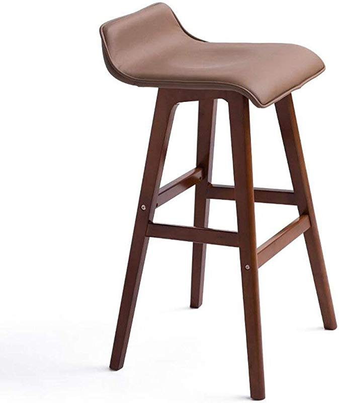 Carl Artbay Wooden Footstool Bright Brown Cushions Brown Wooden Frame Skin Care Linen High Stool Bar Chairs Creative Simple Retro Home Size 65cm High