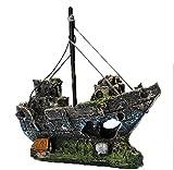 Kfnire Decoraciones del Tanque de Pescados, Ornamento del Acuario del Barco...