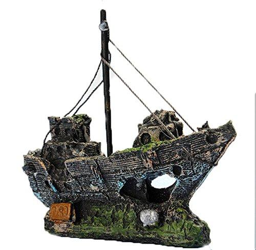 Kfnire Resin Fishing Boat Aquarium Ornament Plastic Decoration Plant for Fish Tank Accessories