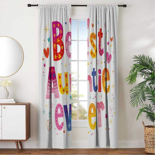 hengshu Grommet Window Curtains Insulating Noise for Family Home Afternoon Naps, Aunt Doodle Style Best Auntie Ever Typography Childish Family Hearts Flowers Kids Cartoon W120 x L108 Inch, Multicolor