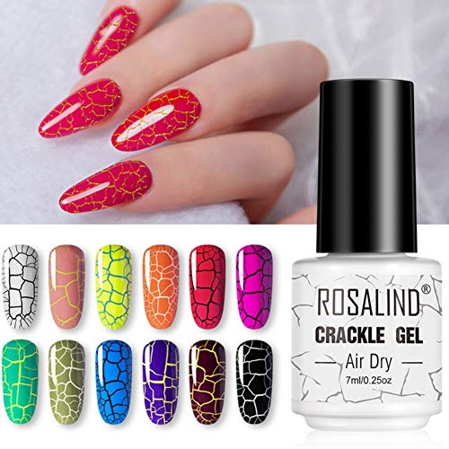 Reddhoon 12 Colors Crackle Gel Nail Polish Long-Lasting Crackle Gel by Air Dry No Need Lamp Cure Easy to Use...