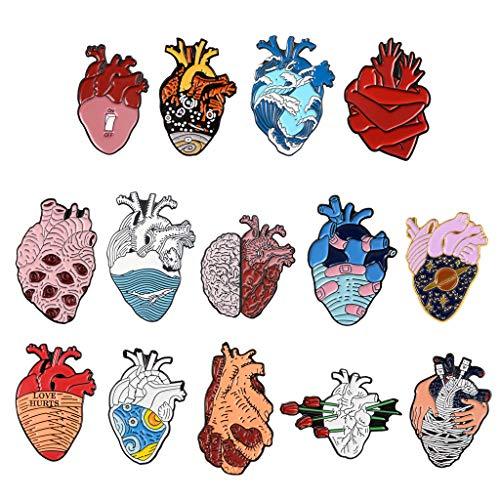 KLOVA Mode Brosche, 14 Arten Anatomische Herz Pin Kit Wissenschaftliche Herz Emaille Anstecknadeln Set Unisex