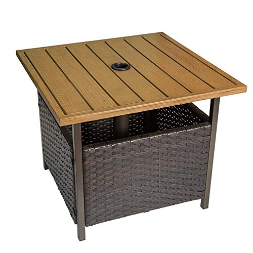 CHAO Patio Wicker Bistro Dining Square Umbrella Table With Storage Space Umbrella Hole, Environmental Protection, Multifunction, Suitable for Pool or A Garden