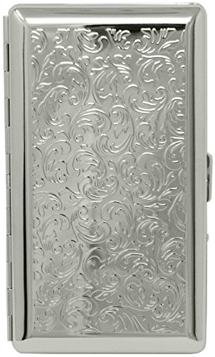 Silver Victorian Print (Half Pack 120s) Metal-Plated Cigarette Case & Stash Box with Mirror