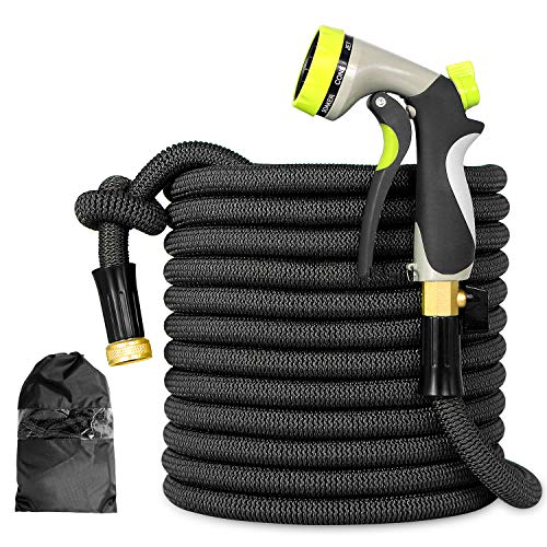 "Expandable Garden Hose - 50ft Lightweight Flexible pocket Water Hose with 3/4"" Heavy Duty Brass Connectors & Shut Off Valve - Extra Strength Fabric Cover with 8 Function Zinc Alloy Spray Nozzle"