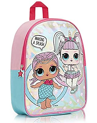 L.O.L. Surprise ! Mochilas para Niñas | Nuevas Mochilas Escolares Juveniles para Chicas De Confetti Pop | Mochila Infantil para Niños (Merbaby y Unicornio)