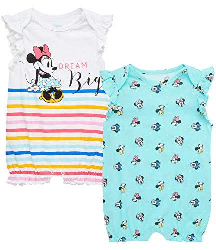 Disney Baby Girls Romper 2 Pack: Minnie Mouse Ruffle Sleeve Romper (Newborn/Infant), Size 18 Months, Rainbow Stripes Minnie/Baby Blue Multi Minnie