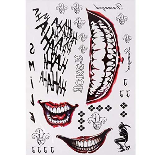 BingWS 100 Piezas Halloween Cosplay The Joker Tatuaje Temporal Pegatinas Cuerpo Arte Tatuajes for Cara Brazo 20X29.6 cm (Color : B)