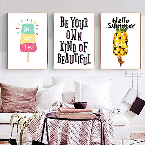 Schattig Cartoon Fruit Ananas Ijs Engels Sentence Canvas,Art Abstract Poster Foto Slaapkamer Decoratie 50x70cmx3 geen Frame