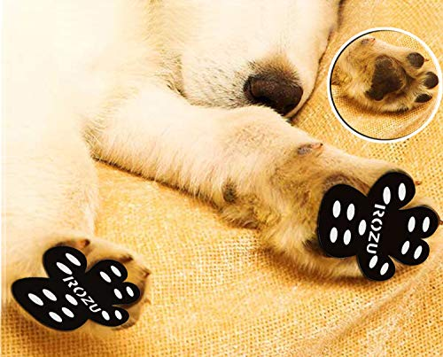 ROZU Dog Paw Protection Pads-Anti Slip Pet Paw Protector Traction Pads Disposable Self Adhesive Dog Shoes Walking Assistant for Hardwood Floors, 6 Sets, 24 Pieces(XXXL, Black)
