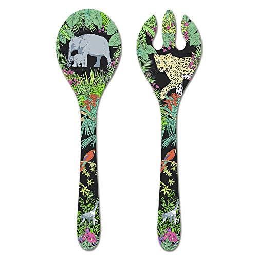 Les Jardins de la Comtesse Salatbesteck aus Reiner Melamin, Dschungel, 33 cm, Schwarz/Grün