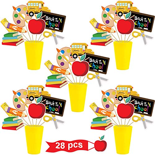 28 Pieces Back to School Decorations Table Toppers First Day of School Table Centerpieces Party Supplies for Classroom Pre School, Kindergarten and Office
