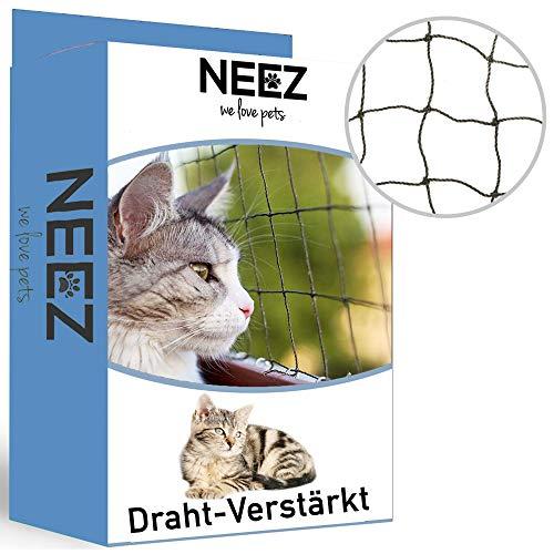 NEEZ Verstärktes Katzennetz für Balkon & Fenster 3x8m I Katzennetz inkl. Befestigungsset I Befestigung ohne Bohren möglich