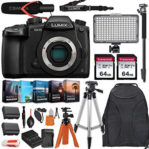 Panasonic Lumix DC-GH5 Mirrorless Micro Four Thirds Digital Camera (Body Only) USA Model w/ 2pc Transcend 64GB Memory, LED VideoLight, Comica Microphone, Editing Software Kit & DC-GH5KBODY Bundle