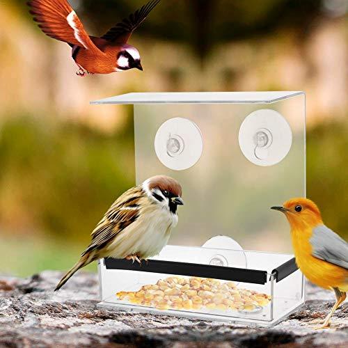 Alimentador de pájaros de mascotas Plato Tazón de pájaros transparente cuadrados de plexiglás caja del alimentador del pájaro mejores for las aves silvestres, 100% acrílico transparente, seguro, fácil