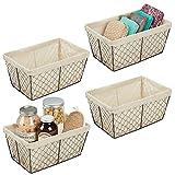 mDesign Juego de 4 cestas de almacenaje de metal – Cestas de alambre grandes con forro de tela – Cajas organizadoras para cocina, despensa, cuarto de baño y salón – color bronce