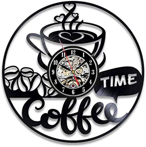ZZNN Hora del café Reloj de Pared de Vinilo Sala de Estar Decoración de Estudio