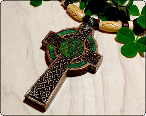 Mens Celtic Cross Necklace, Handmade Irish Wood Cross Necklace, Celtic Cross Pendant, Celtic Jewelry