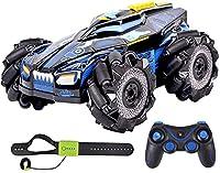 Slreeo RCスタント車、360°スピン横方向サイドシフトカーライトとスプレー2.4G電気リモコンレーシングカー、4WD高速ディランドレーシングカーRCトラックおもちゃの車 (色 : 青)