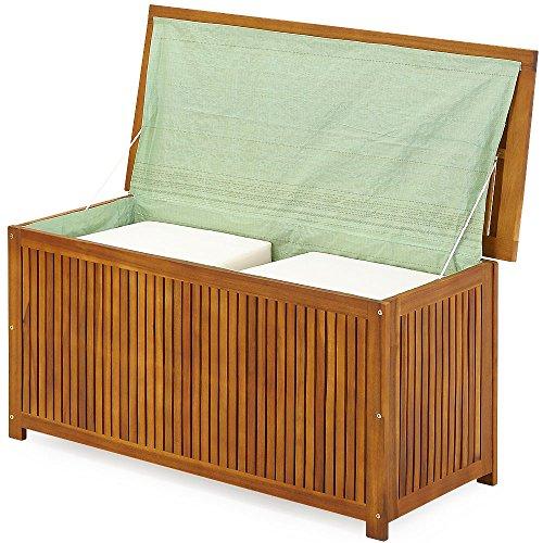 Gartentruhe Auflagenbox mit Innenplane Akazienholz 117cm - 9